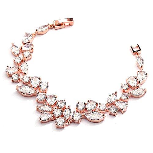 Mariell Mosaic Rose Gold CZ Wedding Bridal Bracelet 6 1/4