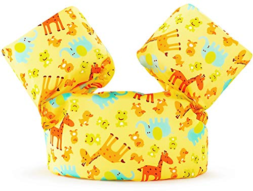 Siran Puddle Jumper Life Jacket Swim Floaties Kids Swimming Pool Toys Float Vest for Baby/Infant/Toddler 30-50lbs Kids Outdoor Recreation Yellow Giraffe ()
