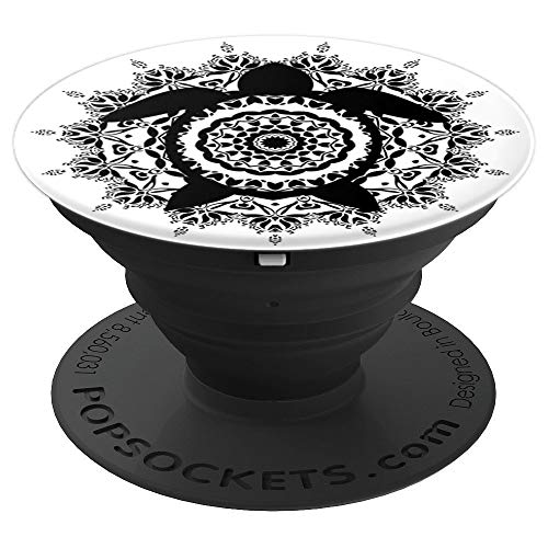 (Sacred Fractal Sea Turtle Mandala Abstract Geometric Art - PopSockets Grip and Stand for Phones and Tablets)
