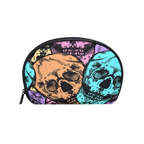 ALAZA Skull Half Moon Cosmetic Makeup Toiletry Bag Pouch Travel Handy Purse Organizer Bag for Women Girls