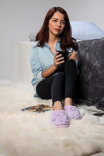 Aerusi Vrouwen Bloem Splash Spa Slaapkamer Home Dia Fleece Comfortabel Kussen Zacht Warm Huis Slipper Lavendel