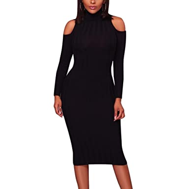 056e2b10ebf Image Unavailable. Image not available for. Color  Icy Palace Women s  Latest Fashion Turtleneck Long Sleeve Hollow Out Sleeves Below Knee Length  Plus Size