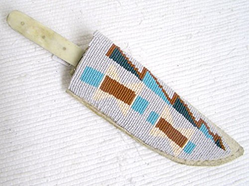 Kachina House Native American Algonquin Made Old Lakota Designed Beaded Knife -