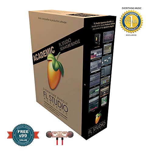 Price comparison product image Fl Studio 20 Signature Edition Academic Student / Teacher Boxed includes Free Wireless Earbuds - Stereo Bluetooth In-ear and 1 Year Everything Music Extended Warranty