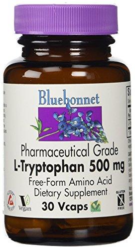Bluebonnet Kosher Amino Acid - Bluebonnet L-Tryptophan 500 mg Vitamin Capsules, 30 Count