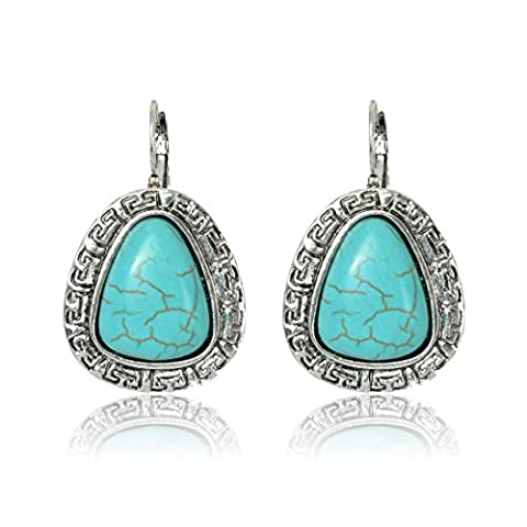 Tagoo Silver Alloy and Turquoise Tear Carved Earrings - Turquoise Tear