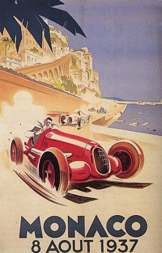 1937 Car Race Grand Prix Monaco Streets Vintage Poster Repro