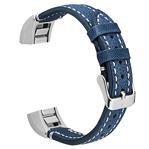 ESeekGo for Fitbit Alta Leather Bands, Genuine Leather Replacement Band for Fitbit Alta HR and Fitbit Alta (No Tracker,Blue with White Line)