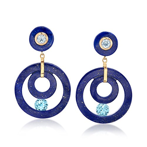 Ross-Simons Lapis and 4.30 ct. t.w. Blue Topaz Open-Circle Drop Earrings in 14kt Yellow Gold