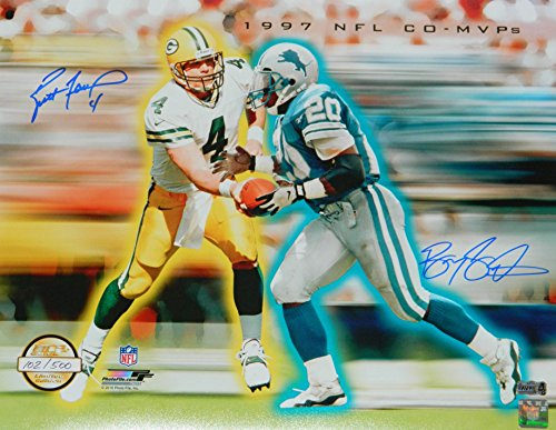 Brett Favre & Barry Sanders Dual Signed Green Bay Packers/Detroit Lions 1997 NFL Co MVPs Hand Off Collage 16x20 -