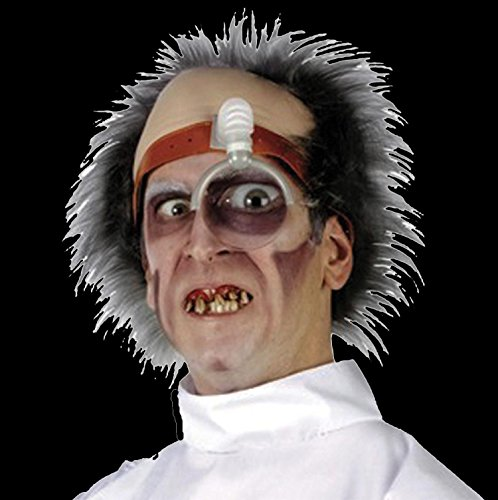Costume Mad Butcher (Psycho Surgeon DR KILLER DRILLER HEAD PIECE Mad Scientist Doctor Wig Topper)