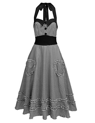 ACEVOG Women's Halter 1950s Vintage Swing Tea Dress Casual Cocktail Party Dresses - Vintage 70s Plaid
