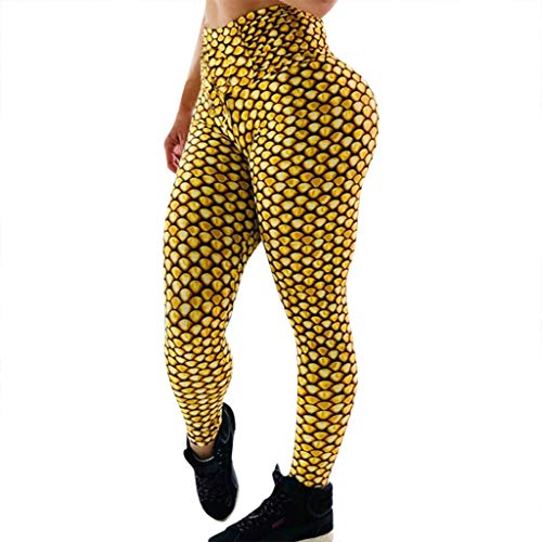 iHPH7 High Waist Yoga Pants Control Leggings Workout Stretchy Trousers Printed High-Waist Hip Stretch Underpants Running Fitness Yoga Pants (M,6- Yellow) ()