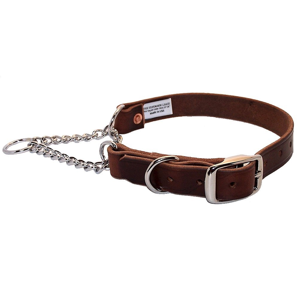 Brown Leather Martingale Dog Collar | Made in the USA | Small 16'' to 20'' Adjustable, Top Quality, Premium, Heavy Duty, Durable, Strong Training Collar | Nickel Plated Steel | The Ultimate Leash by The Ultimate Leash
