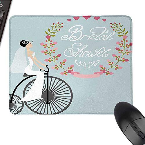 Bridal ShowerE-Sports Gaming Mouse PadBride in Wedding Dress Bicycle Flowers Celebration ImageNonslip Rubber Base 9.8