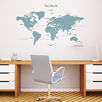 Decowall DMT 1509B Modern Blue World Map Peel And Stick Nursery Kids Wall  Decals Stickers (Large)