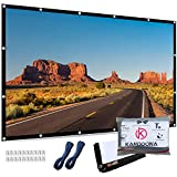 Kandoona Portable Outdoor Projector Screen 120 Inch Wrinkle Free 16:9 Movie Screen with Hanging Holes Double Sided Projection Screen for Home Theater with 160° Viewing Angle