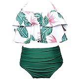KABETY Girls Swimsuit Two Pieces Bikini Set Ruffle Falbala Swimwear Bathing Suits (Green, 9-10 Years)