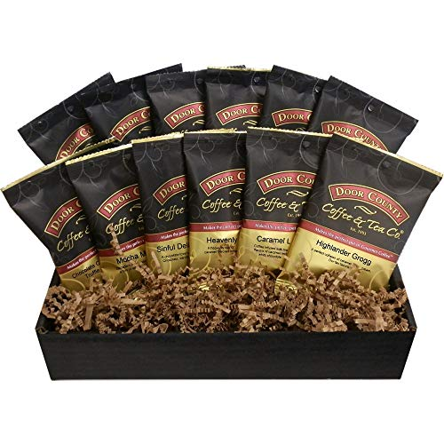 Door County Coffee Best Sellers, Chocolate & Caramel, Full-Pot Bags, 12-Pack Gift Set