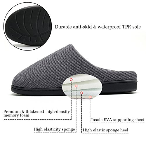 Cozy Spa House Indoor Slippers for Men Warm Lining Clog Slippers Dark Gray L by Harrms (Image #4)