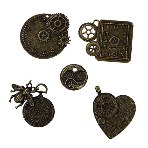 Metal Gears, Clocks & Wheels 15 Pcs (3 of each), Bronze Tone – Watch Findings, DIY Crafts, Jewelry Making, Steampunk Charms