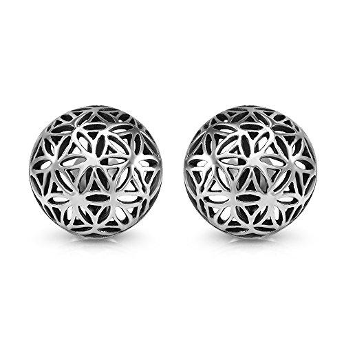 925 Sterling Silver 12 mm Filigree Flower of Life Mandala Cut Open Half Ball Round Post Stud Earrings (Silver 12mm Flower)