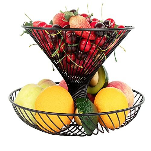 2-Tier Counter Fruit Basket Fruit Bowl, Widea Bread Basket Vegetable Onion Potato Holder Food Snacks Rack Metal Dining Table Organizer for Kitchen Home Dining Room Party Fruit Storage, No Install, Black