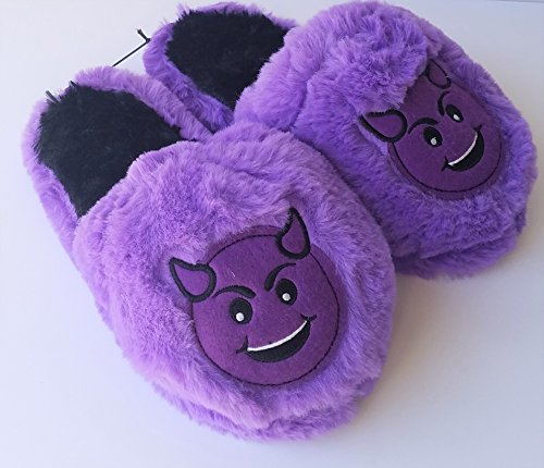 Purple Devil Emoticon Kids Emoji Slippers