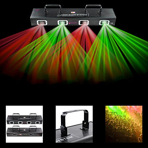Koval Inc. 4 Lens RG Laser Stage Light DMX Disco Lighting System (Red/Green Lighting)