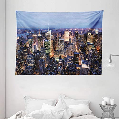 Ambesonne New York Tapestry, Aerial View of NYC Full of Skyscrapers Manhattan Times Square Famous Cityscape Panorama, Wide Wall Hanging for Bedroom Living Room Dorm, 80 X 60 , Blue Multicolor