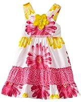 Youngland Little Girls' Sleeveless Floral Animal Print Sundress