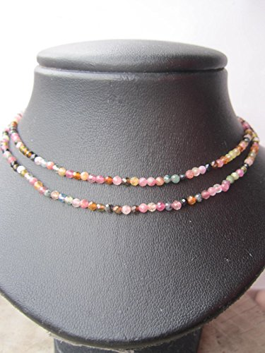 2 mm,Multi Color Double Strand Tourmaline Necklace,October Birthstone Necklace,925 sterling silver 1 inch extender - Size 15,16,17,18, 20 - Custom - Necklace Color Tourmaline Multi