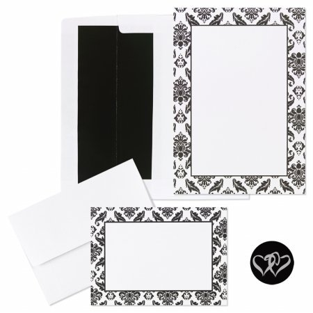 (Black and White Damask Invitation and Note Card Kit - Makes 50 Sets)