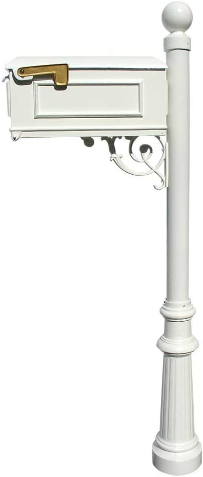 Amazon Com Qualarc Lewiston Cast Aluminum Post Mount Mailbox System With Post Aluminum Mailbox Fluted Base And Ball Finial White Ships In 2 Boxes Home Improvement