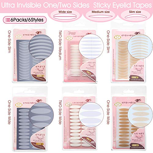INS 6 Styles 6 Packs Natural Invisible One/Two Sides Sticky Double Eyelid Tapes, Medical-use Fiber Eyelid Strips, Instant lift Eyelid Without Surgery, Perfect for Hooded, Droopy, Uneven, Mono-eyelids (Surgery Lift Eyelid)