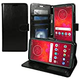 Motorola Moto Z3 Case, Moto Z3 Play ZASE Design Wallet Pouch Folio PU Leather Flip Cover w/[Kickstand] Card Slot [Wrist Strap] for Moto Z3 Verizon (Luxury Black)