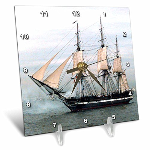 Uss Constitution Pictures (3dRose dc_38112_1 USS Navy Constitution Ship Desk Clock, 6 by 6-Inch)