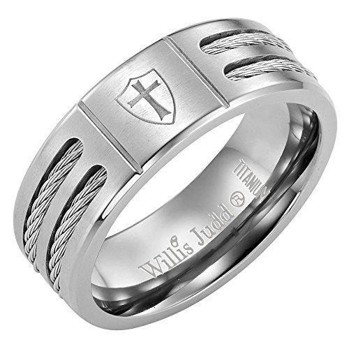 (Willis Judd Men's Titanium Ring (Christian Cross Knights Templar Shield))