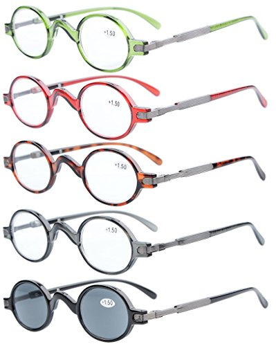 5-pack Eyekepper Spring Temple Vintage Mini Small Oval Round Reading Glasses include Sun Readers - Small Round Glasses Reading