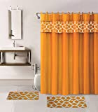 Orange Bathroom Rug Sets 15 Pieces Solid Color with Embroidery Butterfly Design Bathroom Mats Set Non-slip Rug Carpet Shower Curtain and Hooks (Geometric-orange)