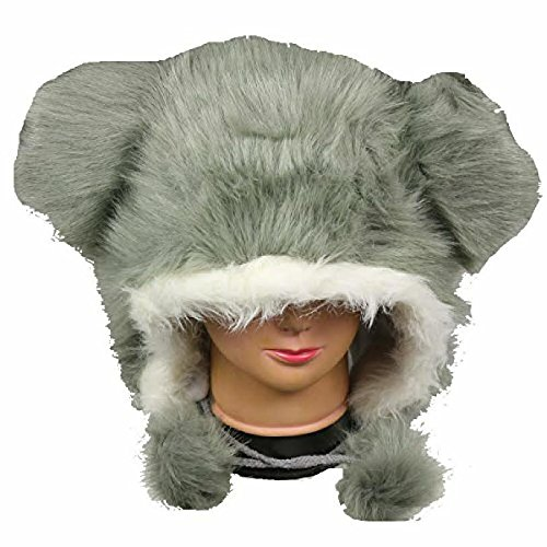 Gray Furry Plush Hat - Fits Kids and Adults - With Long Plush Pom Pom (White Furby Costume)