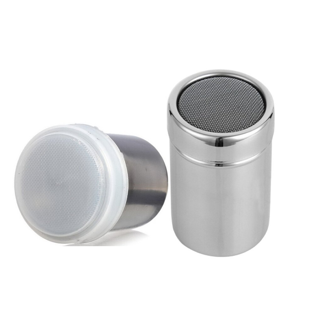 ICYANG 2 Pieces Stainless Steel Sifter Lid Shaker With Cap Chocolate Cocoa Flour Icing Sugar Coffee Powder Filters
