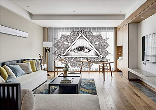 iPrint Sheer Voile Curtains,Eye,Vintage All Seeing Eye Tattoo Symbol with Boho Mandala Providence Spirit Occultism,Black White,for Living Room,75 by 84 Inch(Set of 2 Panels)