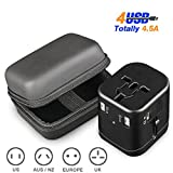 Travel Adapter, IKOCO Worldwide All in One Universal Power Converters with 4.5A Quad