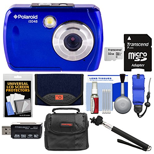 Polaroid iS048 Waterproof Digital Camera (Blue) with 32GB Card + Case + Selfie Stick + Float Strap + Cleaning Kit by Polaroid