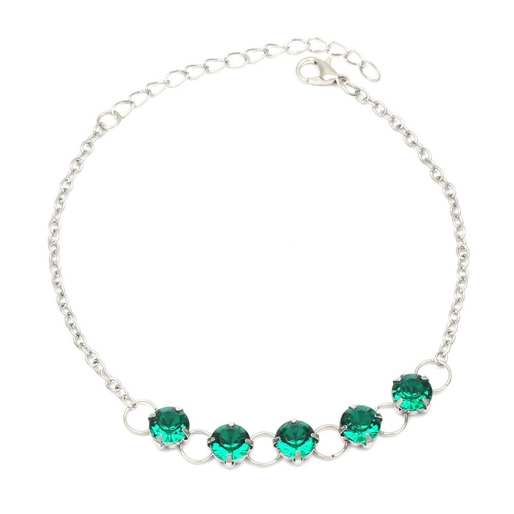 Green crystals silver-tone anklet Idin Jewellery 109524