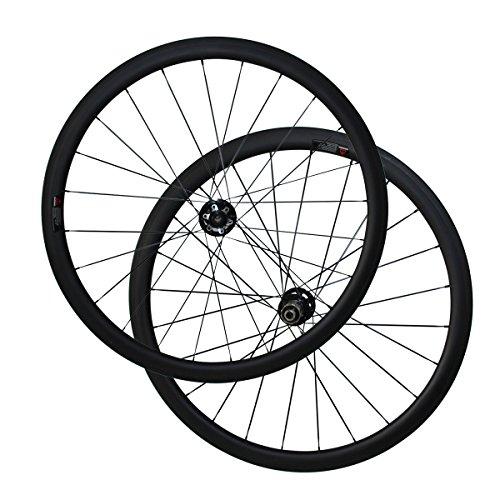 (LOLTRA 6 Bolt Disc Brake 700C 25mm Width U Shape Cyclocross Bike Carbon Wheelset with Novatec D791SB D792SB Hub, 1423 Spokes, 38mm Tubular, Front 15x100mm, Rear 12x142mm)