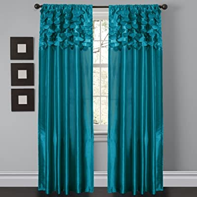 "Lush Decor Circle Dream Window Curtains Panel Set for Living, Dining Room, Bedroom (Pair), 84"" x 54"" Turquoise - Circular motif pattern creates textured curtains for a contemporary, modern decor. These curtains add a dreamy touch for your bedroom, living room or dining room. Curtain panel design allows for natural light in the room, while maintaining privacy in your home. - living-room-soft-furnishings, living-room, draperies-curtains-shades - 517bpbywVJL. SS400  -"