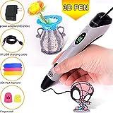 WESEN 3D Printer Pen with PLA Filament Refills, 3D Drawing Pen 07A Bonus 3 Colors 30 Feet Filament & Stencil for Kids Adults Creative DIY Arts and Crafts Grey, Non-Clogging