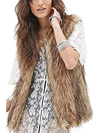 Tanming Women's Fashion Autumn and Winter Warm Short Faux Fur Vests (X-Small, Grey)